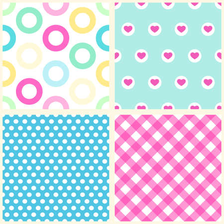 Set of four primitive seamless retro patterns ideal for baby shower