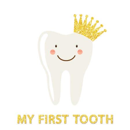 王冠と歯の面白い笑顔漫画のキャラクターとしてかわいいカード  イラスト・ベクター素材