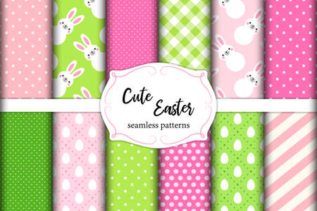 Cute set of Easter seamless patterns design with funny cartoon characters of bunnies for your decoration