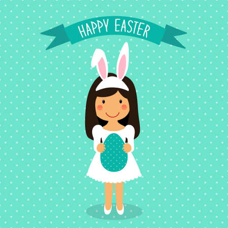 Cute Easter card with funny hand drawn cartoon character of girl in Bunny costume with Ears holding big Egg in hands for your decoration