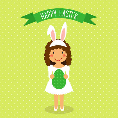 Cute Easter card with funny cartoon character of girl with egg in hands.