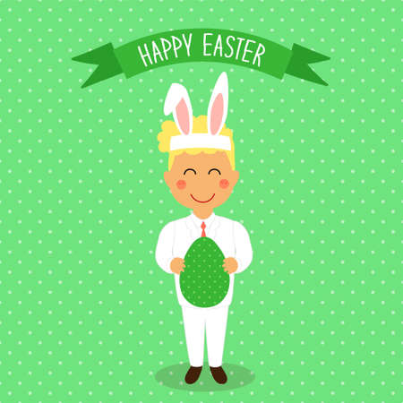 Cute Easter card with funny hand drawn cartoon character of boy in Bunny costume with Ears holding big Egg in hands for your decoration