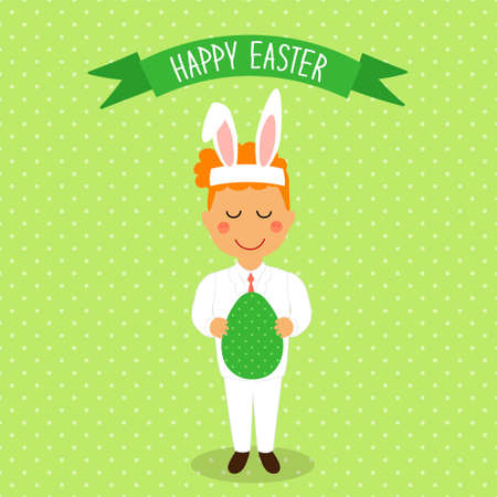 Cute Easter card with funny cartoon character of boy with Egg in hands