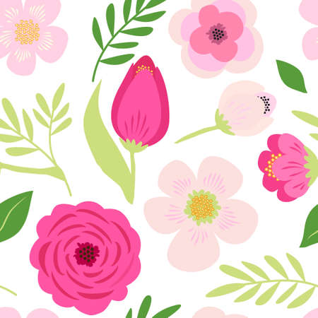 Cute seamless hand drawn spring pattern with primitive rustic flowers and leaves