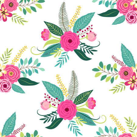 Cute seamless pattern with vintage elements as rustic hand drawn first spring flowers for your decoration