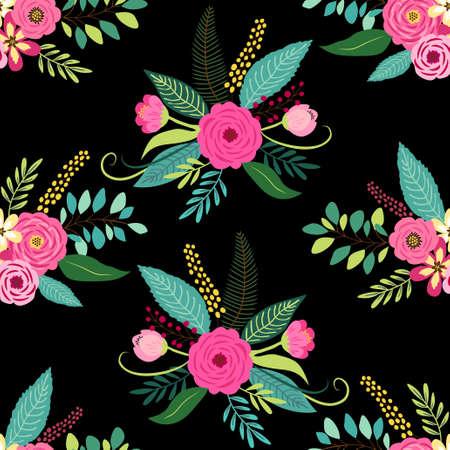 Ładny wzór z elementami vintage jako rustykalne ręcznie rysowane pierwsze wiosenne kwiaty do dekoracji
