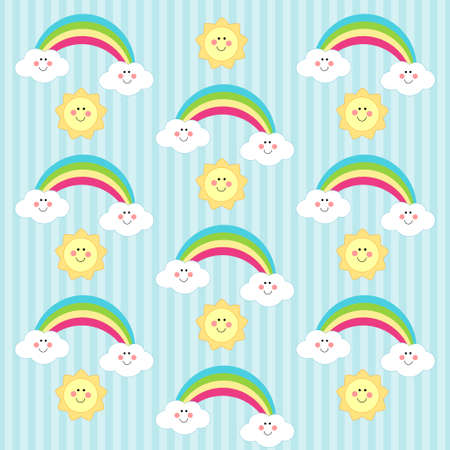 Retro background as handmade fabric cloud, rainbow and sun as cartoon characters, scrap booking elements