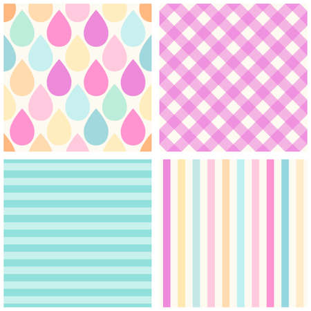 Set of four cute retro patterns with drops, gingham and striped