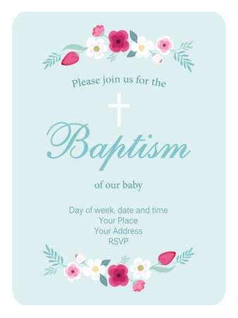 Cute vintage Baptism invitation card with hand drawn flowers Çizim