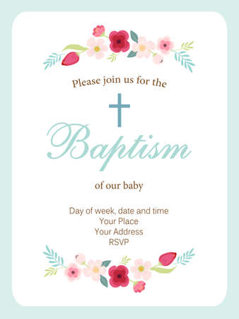 Cute vintage Baptism invitation card with hand drawn flowers Illustration