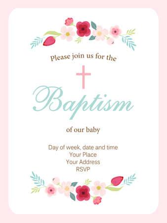 手描きの花とかわいいヴィンテージバプテスマの招待状。
