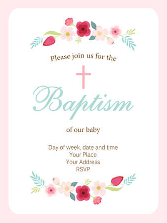 Cute vintage Baptism invitation card with hand drawn flowers.