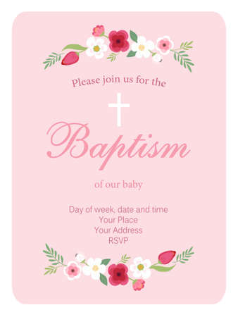 Cute vintage Baptism invitation card with hand drawn flowers Vettoriali