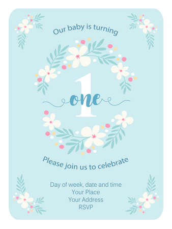 Cute vintage One invitation card with hand drawn flowers Vectores