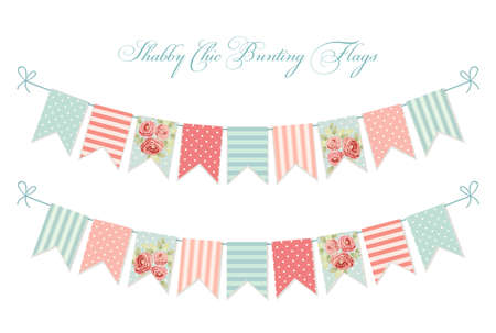 Cute vintage shabby chic textile bunting flags Stock Vector - 95888852