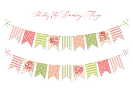 Cute vintage shabby chic textile bunting flags Illustration