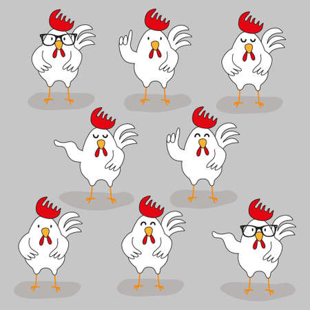 Set of cute hand drawn cartoon characters of rooster