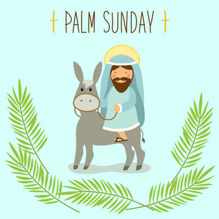 Palm Sunday banner as religious holidays symbols Stock Vector - 95891242