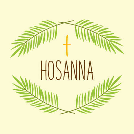 Palm Sunday banner as religious holidays symbols