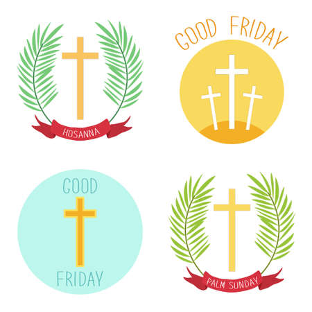 Palm Sunday and Good friday icons as religious holidays symbols