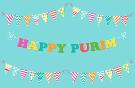 Cute bright and colorful bunting flags for Happy Purim, Jewish holiday. Illustration
