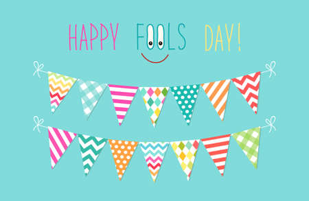 Cute April Fools Day background as festive colorful bunting flags Illustration