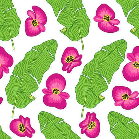 Beautiful botanical seamless pattern with tropical flowers and foliage as banana palm tree leaves on striped background  イラスト・ベクター素材