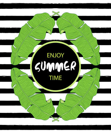 Beautiful green botanical frame with foliage with Enjoy Sumer Time text