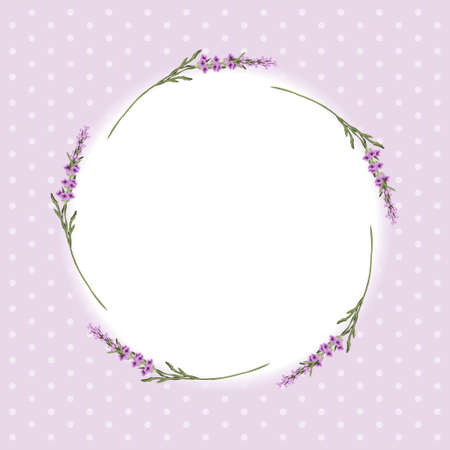 Vintage floral frame with lavender in provence style on dots background