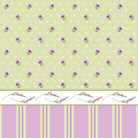 Vintage floral background with lavender in provence style on dots background Illustration
