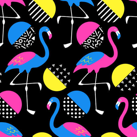 Cute exotic tropical seamless background with cartoon characters of neon flamingos in 80s style
