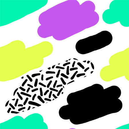 Cute hand drawn retro seamless repeating pattern with abstract shapes brush strokes in 80s and 90s style Vectores