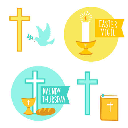 Holy Week Easter Vigil and Maundy Thursday icons for your decoration 일러스트