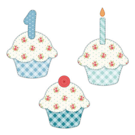 Set of cute cupcakes as textile applique with roses in shabby chic style