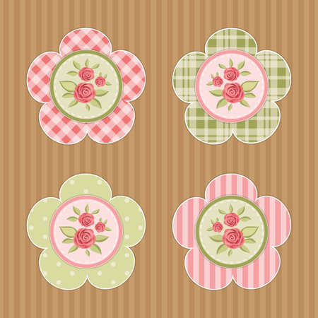 Vintage labels with roses in shabby chic style for scrap booking or as sale tags for prices or as cupcake toppers Vettoriali