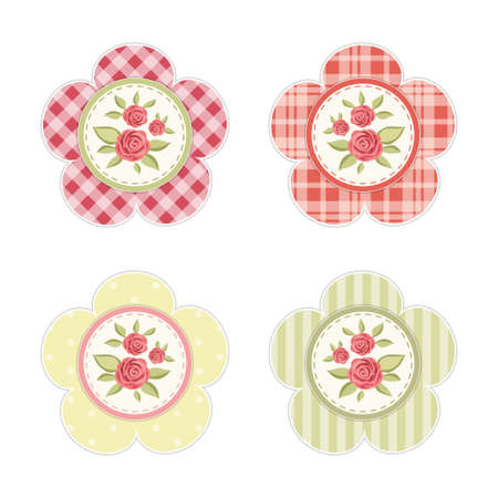 Vintage labels with roses in shabby chic style for scrap booking or as sale tags for prices or as cupcake toppers Vectores