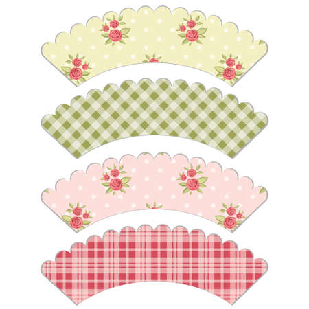 Set of retro cupcake wrapper templates in shabby chic style Illustration