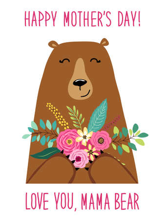 Cute cartoon Mama Bear with flowers bouquet, Mothers day card for your decoration
