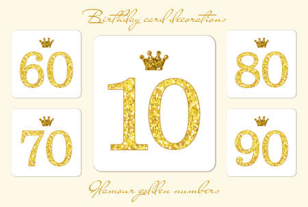 Cute vintage golden glitter numbers with crown can be used as birthday card, anniversary card etc 向量圖像