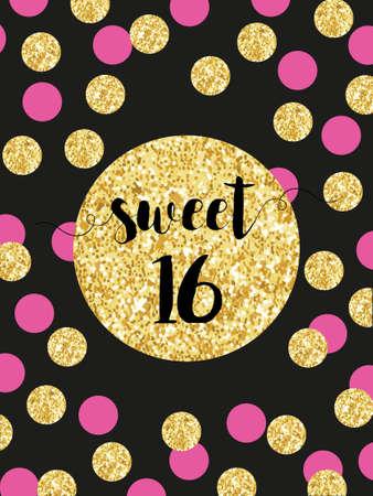 Cute festive bright sweet sixteen card with golden glitter confetti Illustration