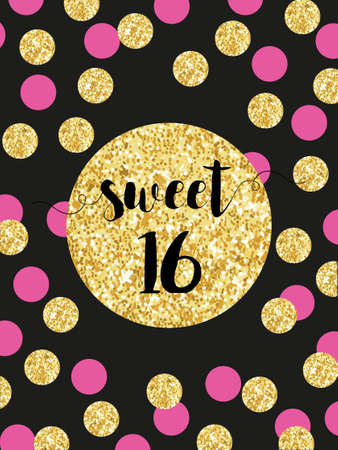 Cute festive bright sweet sixteen card with golden glitter confetti Vectores