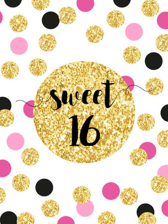 Cute festive bright sweet sixteen card with golden glitter confetti Illustration