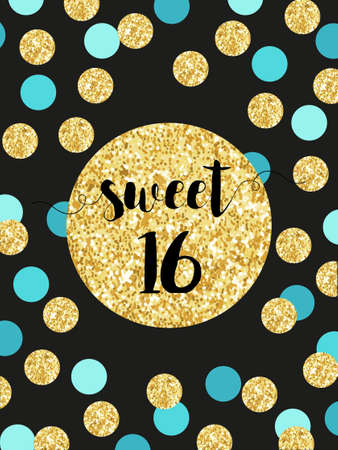 Cute festive bright sweet sixteen card with golden glitter confetti 向量圖像