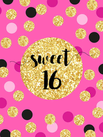 Cute festive bright sweet sixteen card with golden glitter confetti 일러스트
