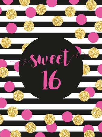 Cute festive bright sweet sixteen card with golden glitter confetti for your decoration.