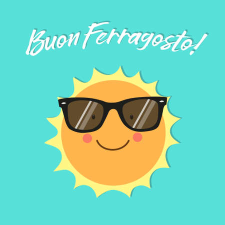 Buon Ferragosto italian holiday card as cute hand drawn smiling cartoon character of Sun 스톡 콘텐츠 - 99064199