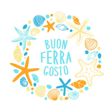 Cute vintage frame with hand drawn shells and starfishes and hand written text Buon Ferragosto italian summer holiday Vector illustration.