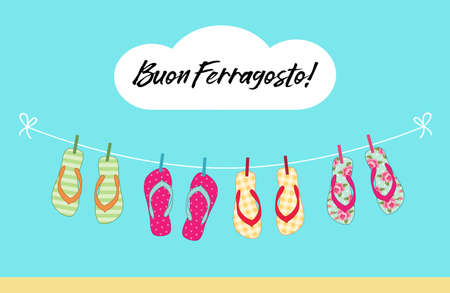 Cute colorful summer banner for Ferragosto italian summer holiday with flip flops hanging on the rope for your decoration 向量圖像