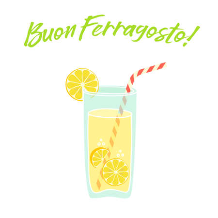 Cute vintage card Buon Ferragosto italian summer holiday with fresh lemonade for your decoration