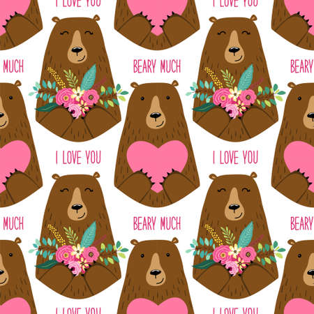 Cute childish seamless pattern of forest in love with cartoon characters of mama bear and papa bear holding hearts and flowers